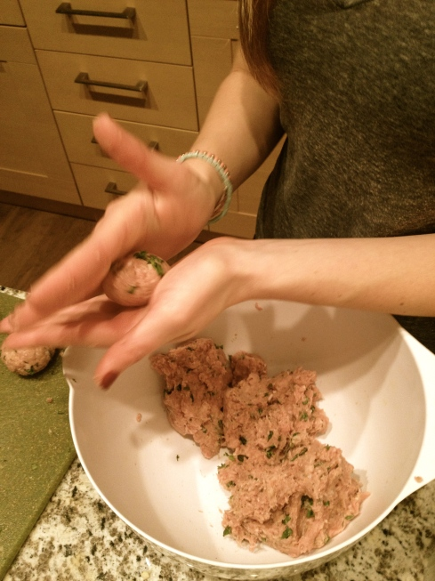 making little meatballs!