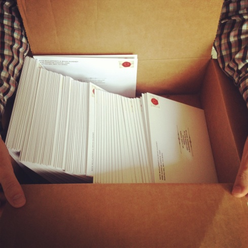 and out the wedding invitations went!