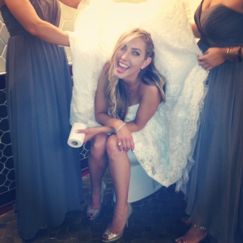 I will never forget this moment. It's hard to pee in a huge gown!