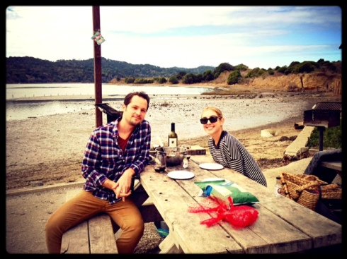 eating oysters in Tomales Bay on our mini moon
