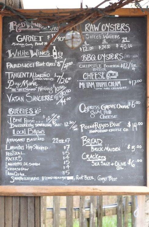 tomales bay menu